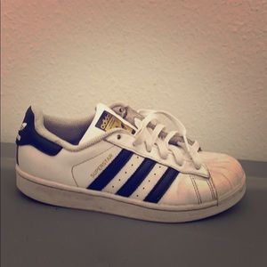 Adidas solid white super star 3 stripe sneakers